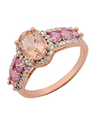 PINK MORGANITE PINK SAPPHIRE GEMSTONE & DIAMOND RING IN ROSE GOLD PLATED 925 STERLING SILVER JEWELRY