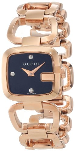 Gucci Women's YA125512 G-Gucci Black Sun Brushed Dial with Diamonds Watch
