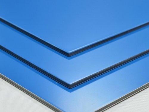 Aluminium Verbundplatte - 3mm - HELLBLAU - 0,2mm - 200mm x 200mm