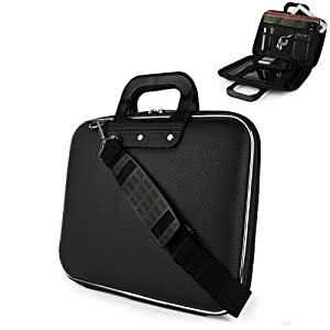 Black Cady Cube Ultra Durable 10 inch Tactical Hard Messenger bag for your Polaroid PMID1000 10.1 Inch Tablet with Extra Features: Reinforced durable constructions, Extra dividers and mesh pockets for other Tablets, eReaders, pens, papers, and other schoo