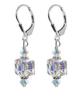 SCER053 Sterling Silver 8mm Clear Cube Crystal Earrings Made with Swarovski Elements