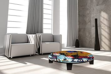 "TAF DECOR ""California Dreaming 2"" Art Coffee Table, 35"" X 35"" X 7.5"", Multicolored"