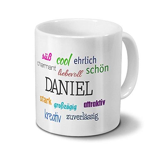 Tasse mit Namen Daniel - Positive Eigenschaften von Daniel - Namenstasse, Kaffeebecher, Mug, Becher, Kaffeetasse - Farbe Weiß