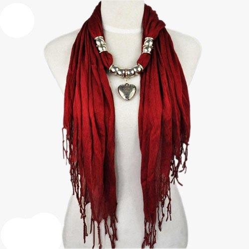 AllyDrew Heart Pendant Necklace Scarf Pendant Scarf, Maroon