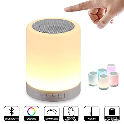 Elecstars® LED Bedside Lamp - with Bluetooth Speaker , Dimmable Color Night Light , Outdoor Table Lamp with Smart Touch Control, Hand-free Speakerphone / TF Card / AUX-IN / Muisc Player (White)