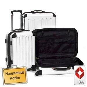 3er Kofferset Hartschale Trolley weiss/perlmutt-Hochglanz,TSA