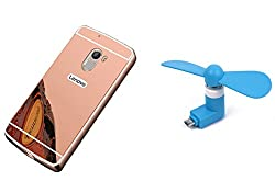 Novo Style Back Cover Case with Bumper Frame Case for Lenovo Vibe K4 noteRose Gold + Smallest Mobile Fan Android Smart Phone