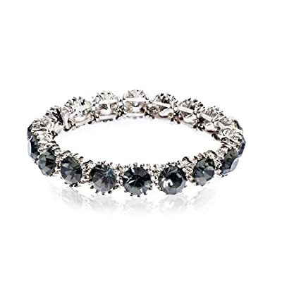 Sparkle Stone Bracelet Black Diamond on Rhodium Plate