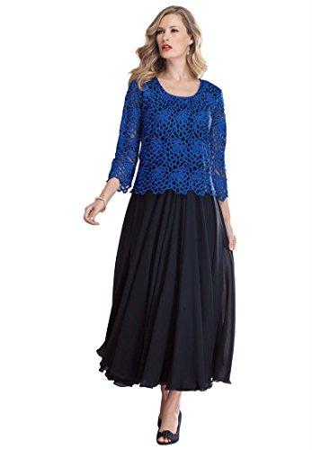 Plus Size Roaman's Lace Popover Dress (Dark Sapphire Black,22