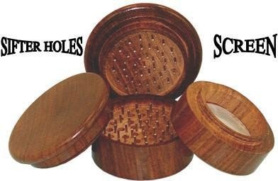 "2"" Round Rosewood 4pc Grinder With Pollen Screen - Hand Muller"