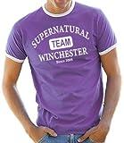 Supernatural - Team Wincester Ringer / Contrast T-Shirt Liliac/White, XXL