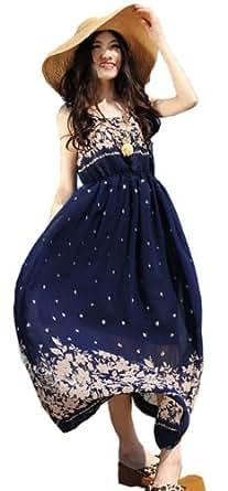 Demarkt Elegant Longue Robe pour les Femmes/ en Voile avec Dessin Fleur/ 2 Couleur a la Mode a Choisir/ Taille Unique (Bleu)