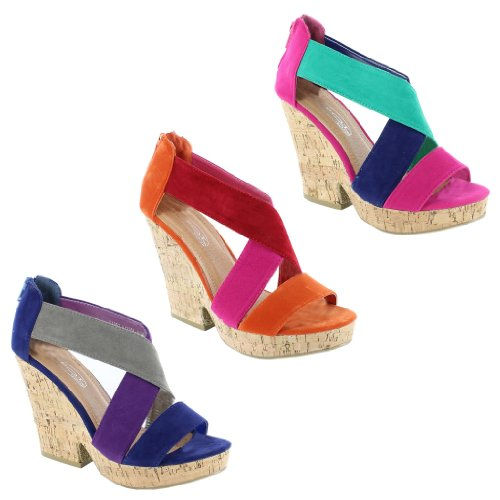 New Ladies Cork Wedge Strappy Platform Sandals