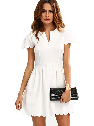 SheIn Women's Scalloped V Neck Pleated Skater Dress Medium White