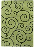 ZnZ Rugs Gallery, 18042_5x8, Hand Made Lime green New Zealand Blend Wool Rug, 1, Turf Green, 5x8'