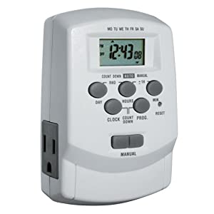 Woods 59377 Digital 7-Day Lamp/Appliance Timer with 2 Outlets, Up to 8 On/Off Settings per day and Battery Back Up