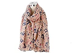 Dressmaker Sewing Machine Scissors Needles Cotton Reels Dresses Print Scarf PINK