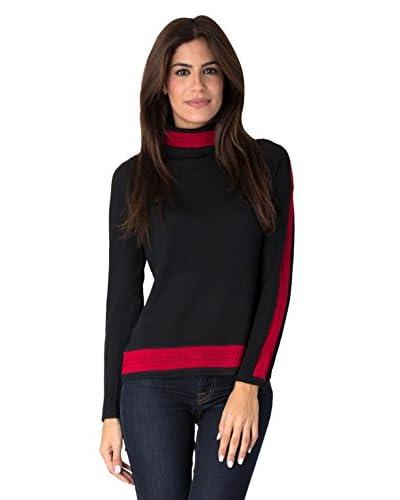 Yuka Paris Women's Perforated Trim Turtleneck Top  [Black/Red]