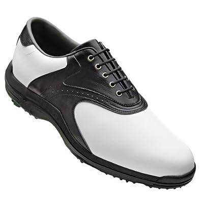 FootJoy Mens GreenJoys Golf Shoes 45431 White Smooth PVC Black Texture by FootJoy