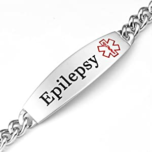 Wide Epilepsy Medical ID Stainless Steel Link Bracelet 8 inch by StickyJ