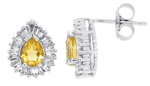 0.56Ct Pear Shaped Citrine Earrings with Diamonds in 14Kt White Gold