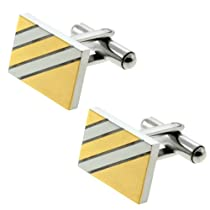 Gold and Silver Tone High Shine Rectangle Stainless Steel Men Cufflinks 10X18mm