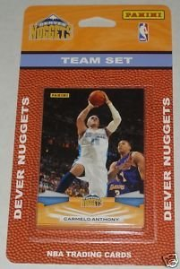 2009 10 Panini Basketball Denver Nuggets Team Set of 11 cards including Carmelo Anthony Anthony Carter Chauncey Billups Chris Andersen JR Smith Kenyon Martin Linas Kleiza Arron Afflalo Nene and 2 Ty Lawson Rookies