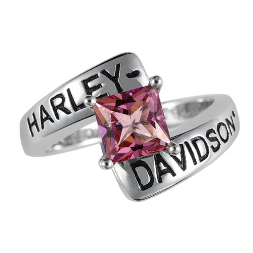 Sterling Silver Harley-Davidson Ladies Crossroads Birthstone Ring - October Pink Topaz