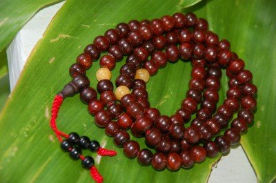 Rosewood Mala Amber Spacers for Meditation