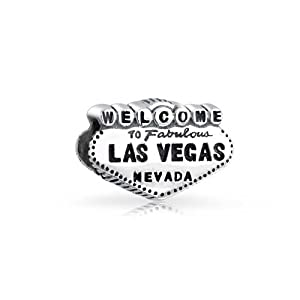 Bling Jewelry 925 Sterling Silver Welcome to Las Vegas Bead Travel Charm Fits Pandora