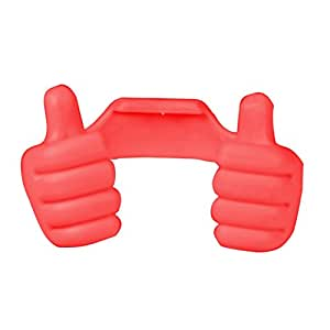 Generic Flexible Portable Mount Cradle Thumb Ok Stand Holder For Mobile Phones & Tablets - Hot Red