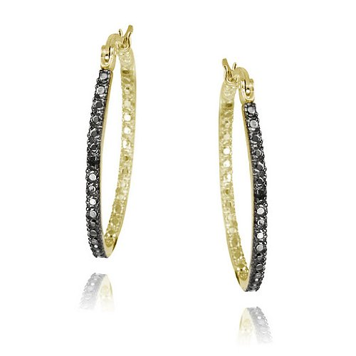 18K Gold over Sterling Silver Black Diamond Accent 33mm Oval Hoop Earrings