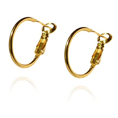 Womens Small Skinny Hoop Earrings 9ct Gold Filled Creole