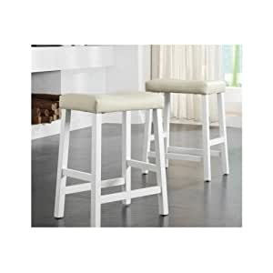 Amazon Com Padded Bar Stools White 24 Inch Seats Wood