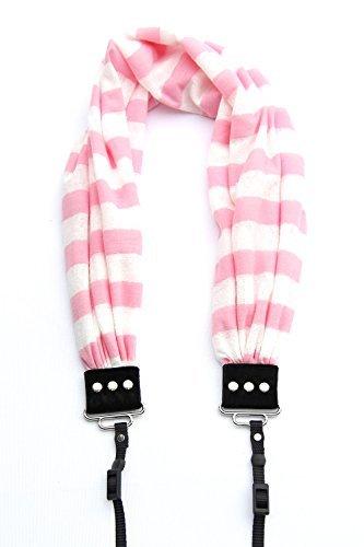 Pink & White Stripe Scarf Camera Strap