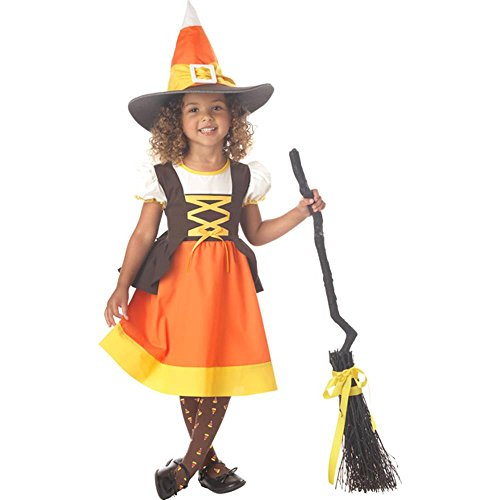 Toddler Candy Corn Halloween Witch Costume (Size: 2T-4T)