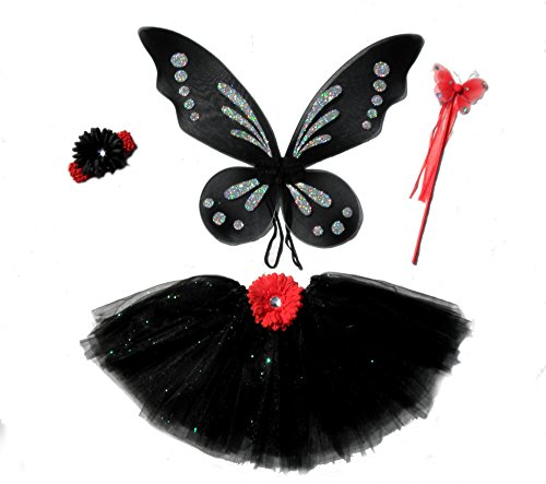 4 Pc Black & Red Diva Fairy Set for Girls with Bright Red Butterfly Wand