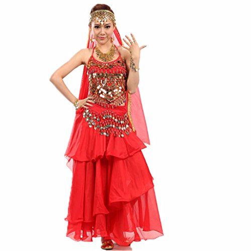 Pilot-trade Belly Dance Costume Dress Skirt Sequins Beads Bells Top Belt Gold Coins