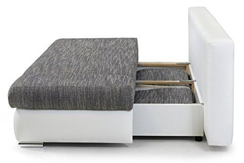 stylisches design schlafsofa orlando grau strukturstoff federkern mit bettkasten. Black Bedroom Furniture Sets. Home Design Ideas