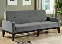 Big Sale Sofa Bed with Button Tufted in Blue/Gray Microfiber Fabric