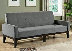 Sofa Bed with Button Tufted in Blue/Gray Microfiber Fabric