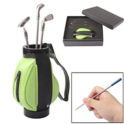 Golf Bag Pen Holder with 3 Golf Clubs Shape Ball Pens~