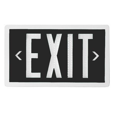 Self Luminous Exit Sign Black Face White Frame 20 Year Life Single Sided