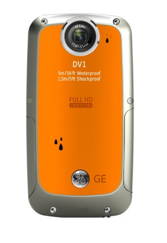 GE DV1-CO Waterproof/Shockproof 1080P Pocket Video Camera (Citrus Orange)