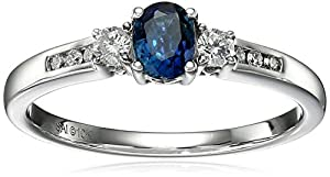 10k White Gold Sapphire and Diamond Ring, Size 7 (1/10cttw, I-J Color, I2-I3 Clarity) by Amazon Collection