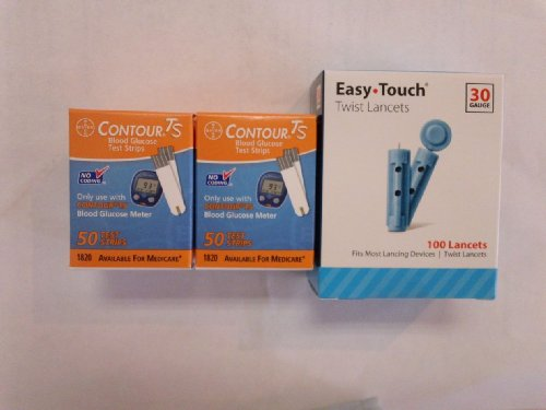 Bayer Contour TS Test Strips, 2 Boxes of 50 Plus 30-gauge La
