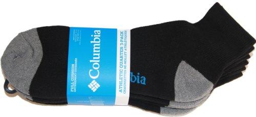 Columbia Mens 3-pk. Athletic Quarter Crew Socks 10-13 Black