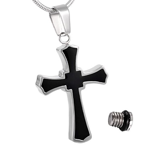 Cremation Jewelry Black Cross Urn Pendant Keepsake Memorial Necklace (silver) (Urn Cremation Cross compare prices)
