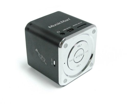 MusicMan TXX3527 Mini Soundstation (MP3 Player, Stereo Lautsprecher, Line In Funktion, SD/microSD Kartenslot) schwarz