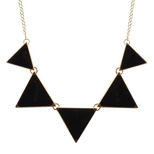 Black Necklace Triangle Necklace Bib Necklace Statement Necklace (Fn0568 - Black)